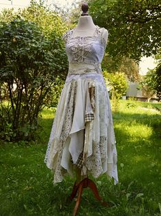 Mori Girl Natural Fairy Tattered Bridesmaid Dress Beige Ivory Romantic Dress Upcycled Woman's Clothing Funky Style