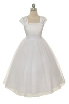 Cap-sleeved dress with sparkly wasteband and tulle skirt. Love the style, comes in ivory, too. - Kids Formal
