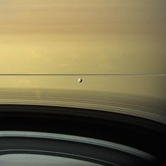 Saturn's moon Dione out in front of the planet and edge-on rings in September 2005, as viewed by Cassini. NASA/JPL-Caltech/SSI/Kevin M.…