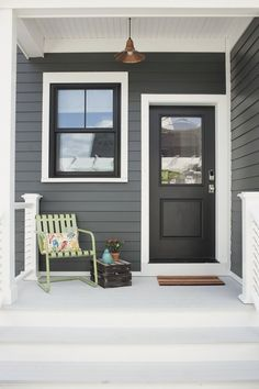 Exterior Paint Colors - You want a fresh new look for exterior of your home? Get inspired for your next exterior painting project with our color gallery. All About Best Home Exterior Paint Color Ideas Cottage Exterior Colors, White Exterior Houses, Exterior Color Schemes, Exterior Paint Colors For House, Grey Exterior, Paint Colors For Home, Exterior Design, Black Windows Exterior, Black Trim Exterior House