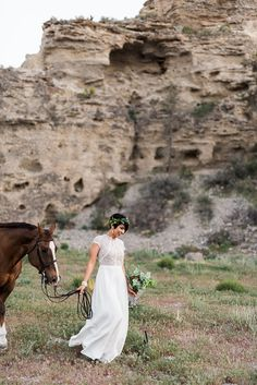 Bohemian, Canyon Desert Las Vegas Wedding with a Horse | Kristen Kay Photography