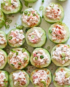 16. Cucumber Cups With Spicy Crab #stpatricksday #healthy #green #recipes http://greatist.com/health/healthy-green-recipes-st-patricks-day