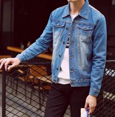 - Mens casual denim jacket for the stylish men - Lovely design offers a trendy stylish look - Perfect for special occasions or parties - Made from high quality material Great Mens Fashion, Stylish Mens Fashion, Men's Fashion, Fashion Night, Stylish Outfits, Fashion Ideas, Guy Outfits, Fashion Coat, Cheap Fashion