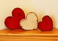 Valentine Decor -  set of 3 wooden hearts.