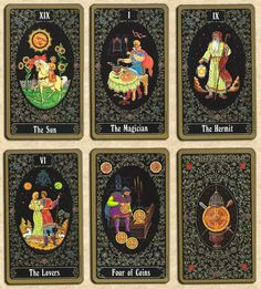 Russian Tarot of St. Petersburg. An unusual fact about this deck is that it was painted by a famous Russian miniaturist. Each original card is the same size as the finished card. He used brushes that were one hair thick for some of the work.