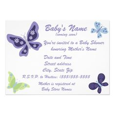 Beautiful Butterfly Baby Shower Invitations, made to match the Beautiful Butterfly nursery collection by NoJo. Customizable, the back is super cute too.