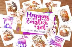 Happy Easter hand drawn sketch set by Arina Hand drawn on @creativemarket