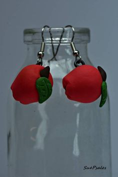 Apple Earrings, Polymer Clay Apple Earrings, Red Apple Earrings, Teachers Gift, Dietitians Gift, Handmade Earrings, Hand Sculpted Earrings by SuePsales on Etsy #PolymerClay #PolymerClayEarrings #FoodEarrings #AppleEarrings #RedAppleEarrings #HandSculptedEarrings #MiniatureFood #TeachersGift #DieticiansGift