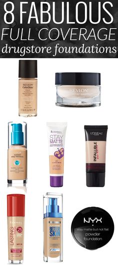 8 Fabulous Full Coverage Drugstore Foundations - these are some of my absolute favorite full coverage foundations, period! #foundationmakeup