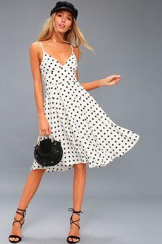 Favorite Spot White Polka Dot Midi Dress 1