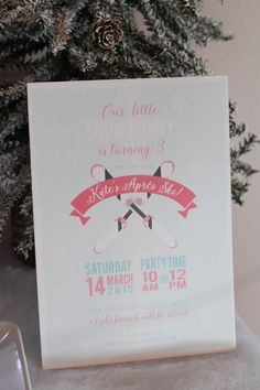 Invitation for a Snow Skiing themed birthday party