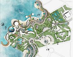 Our proposal to the competition of redeveloping Al Montazah Park. the whole park was divided into 4 main zones, our zone was THE MODERN ERA. Zoo Architecture, Landscape Architecture Design, Concept Architecture, Futuristic Architecture, Landscape Design Plans, Garden Design Plans, Resort Plan, Art Cube, Urban Design Plan
