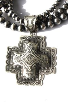 Viincent Platero Tooled Pendant-cross pendant, sterling native american jewelry, sterling pendant, sterling cross http://www.cowgirlkim.com/huge-vincent-platero-sterling-pendant-dan-dodson-turquoise-necklace.html