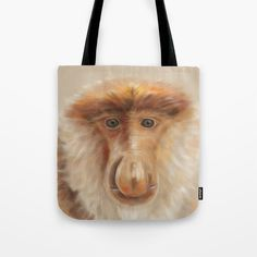 painted nose monkey tote bag black available at my society 6 store. #painting #drawing #animal #animalprint #portrait #portraitdrawing #tote #bag #bags #bagshoppe