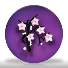 """Baccarat 1987 """"Flowering Cherry Branch"""" paperweight.(213) images"""