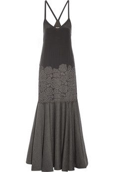 mother of the bride DKNY Paneled stretch-silk, lace and wool-blend gown | NET-A-PORTER