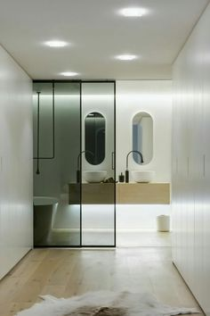 Australian Contemporary Bathroom with Modern Design Ideas : Stylish Contemporary Bathroom In Sydney With Wooden Floor And Sliding Glass Door. Sliding Door Design, Sliding Glass Door, Sliding Doors, Glass Doors, Entry Doors, Sliding Panels, Entrance, Bathroom Doors, Bathroom Interior