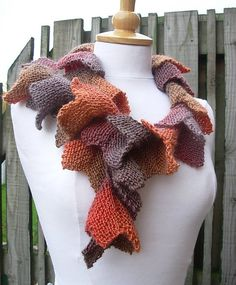 Hand knitted scarflette. So unique!