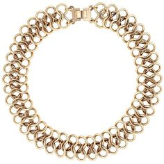 Antique Gold 3-D Chain Link Round Necklace ($32) ❤ liked on Polyvore
