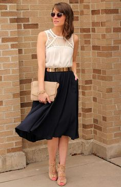 Black Pencil Skirt Top White & Gold Belt | Nude heeled sandals, Navy midi flowy skirt, White tank blouse, Nude clutch, Gold & Black belt
