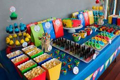 Kids Dessert Tables - Bliss Party Designs- I'm not a party thrower. Baby Boy 1st Birthday Party, Super Mario Birthday, Lego Birthday Party, 6th Birthday Parties, Birthday Ideas, Lego Themed Party, Colorful Birthday Party, Birthday Quotes, Birthday Cake