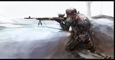 "Medium machine gunner (By ""skoparov"") - - - #art #digitalart #concepart #fanart #military #militaryart #militaryconcept #mediummachinegun #machinegunner #gunner #futuristic #MG #infantry #infantryman #soldier #mech #M240B #M240Bravo #army"