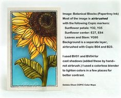Sunflower Botanical Blocks Graduation, Airbrushed with Copic markers and Copic Airbrush System. Image is from Botanical Blocks stamp set by Papertrey Ink, and textured BG is Spellbinders Dainty Dots M-Bossabilties folder. Stepped out process is in this blog post: http://debbiedesigns.typepad.com/muse_and_amuse/2014/06/sunflower-botanical-blocks-graduation-airbrushed.html