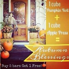 It's Fragrance Friday! This week's featured fragrance is a recipe!  Autumn Blessings! Just add 1 cube of Apple Press & 1 cube of Pumpkin Roll and get this yummy Fall aroma to warm up your home and space!  Save by combining bars - buy 5 get 1 free for $25!  https://aromamia.scentsy.us/Buy/Build?sku=MP-6PK