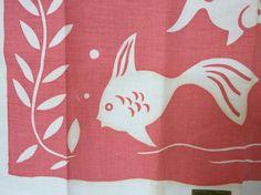Pink Dish Towel - Mid Century Modern MCM Fish in Aquarium Printed Vintage Craftex MWT