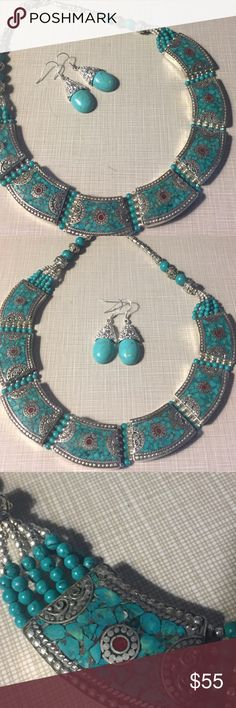 Gorgeous  fit like a queen turquoise necklace set This stunning silver stamped 925 necklace and earrings are turquoise with turquoise beads silver stamped 925 silver inlay approximately 18'long artisan handcrafted earrings are around almost 2' long  NWOT Jewelry Necklaces
