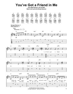 You've Got A Friend In Me (from Toy Story) (Easy Guitar Tab). Written for Solo instrument (Acoustic Guitar, standard tuning [tab]). Purchase and print sheet music now! Ukulele Tabs Songs, Ukulele Fingerpicking Songs, Fingerstyle Guitar Lessons, Guitar Strumming, Easy Guitar Tabs, Guitar Riffs, Guitar Tabs Acoustic, Guitar Chords And Lyrics, Music Theory Guitar