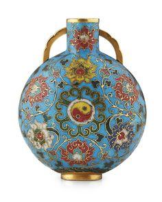 Cloisonné enamel moon flask, Ming dynasty