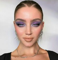 lilac purple and blue smokey eye shadow makeup look eyeliner Cute Makeup, Glam Makeup, Pretty Makeup, Skin Makeup, Eyeshadow Makeup, Makeup Art, Metallic Makeup, Makeup Blog, Eyebrow Makeup