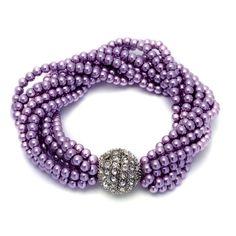 Purple Glass Pearl, White Austrian Crystal Bracelet in Silvertone (8 in)