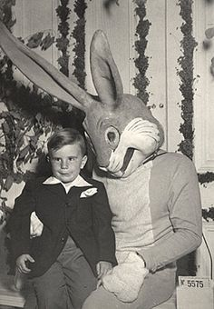 "Another terrifying Easter photo. He's whispering... ""I'll be sneaking into your house tonight, Billy."" Meanwhile, Billy just thinks the rabbit's an idiot!"