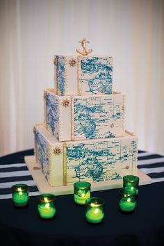 This nautical map cake is AMAZING! Made by Starlight Custom Cakes and perfect for your coastal Maine wedding.