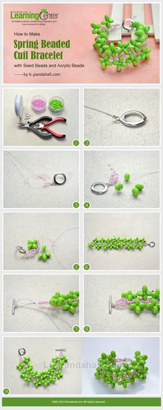 How to Make Spring Beaded Cuff Bracelet with Seed Beads and Acrylic Beads
