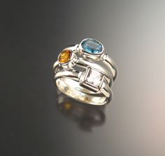 Stackable Mothers ring set of Three rings by stonefeverjewelry