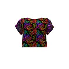 Named Clothing Inari Crop Tee made with Spoonflower designs on Sprout Patterns. Neon colors on a dark mosaic background. I do recommend polyester fabrics to keep the shiny effect of this design. Named Clothing, Crop Tee, Neon Colors, Spoonflower, Mosaic, Fabrics, Men Casual, Patterns, Dark