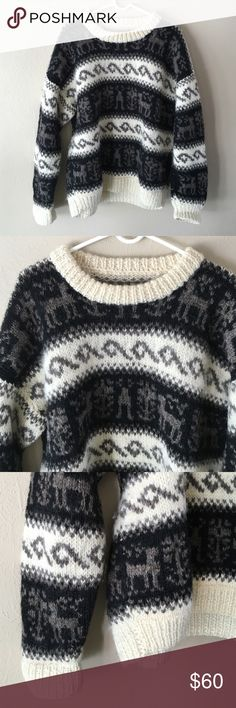 Vintage oversized chunky knit sweater Vintage oversized chunky knit sweater. Scoop neck. 100% wool. Size L. Could fit M oversized. Reindeer print! Colors are black, off white, and brown. Great condition. Very thick and warm. Vintage Sweaters Crew & Scoop Necks