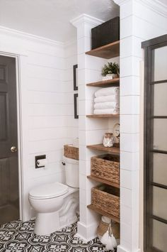 Faux shiplap is all the rage these days – I think we can thank Fixer Upper and. - Faux shiplap is all the rage these days – I think we can thank Fixer Upper and Joanna Gaines for - Bathroom Renos, Bathroom Wall Decor, Bathroom Interior, Bathroom Closet, Bath Decor, Shelving In Bathroom, Dyi Bathroom, Shiplap In Bathroom, Bathroom Built Ins