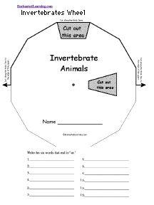 Invertebrates Wheel : Printable Worksheet - EnchantedLearning.com
