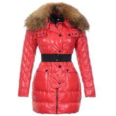 Women Moncler Red Safran Luxurious Fur Collar Coat