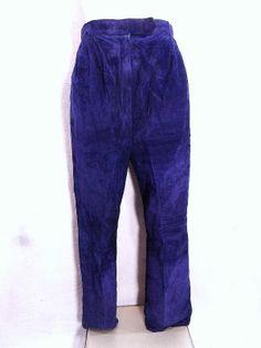 Blue Suede Pants Sz M Biker Leather Punk Vintage 80s Pleated Lined Moto HOT