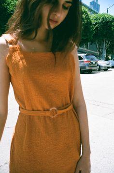Dreamy burnt orange pinafore dress via LISA SAYS GAH