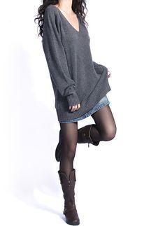 Gray / Black vintage wool sweater dress women sweater long sleeve sweater fashion sweater --SW112
