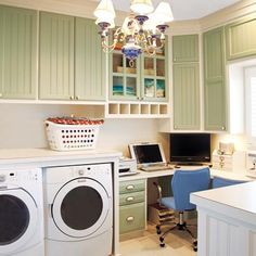 Rather than dedicating a guest room or a portion of the kitchen to bill paying and web surfing, a spacious laundry area becomes host to a handsome home office. | Photo: John OHagan | thisoldhouse.com