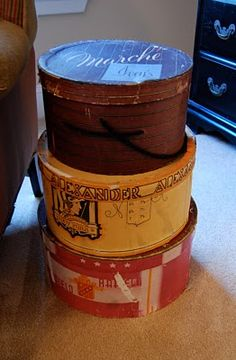 Richella: Beside the wing chair is a stack of hatboxes I found at a local antique store.