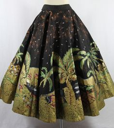 Reserved.........AMAZING 1950's Mexican Circle Skirt - Vintage Cotton Novelty Print Best Every PALM TREES Acapulco. $195.00, via Etsy.