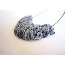 Shades of gray: recycled T-shirt ruffle bib necklace. Eco-friendly ...